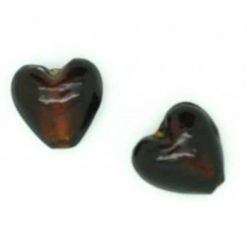 Perle cœur  feuille d'argent  15mm chocolat x 2