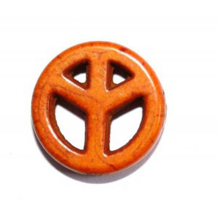Perle Peace & Love 15 mm Howlite orange x 1