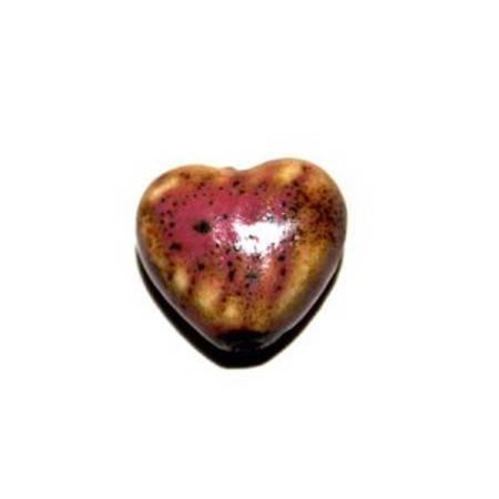 Perle Cœur en céramique 18,5 mm rose x 2