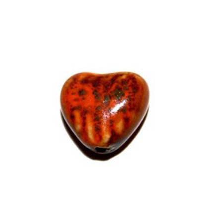 Perle Cœur en céramique 18,5 mm orange x 2