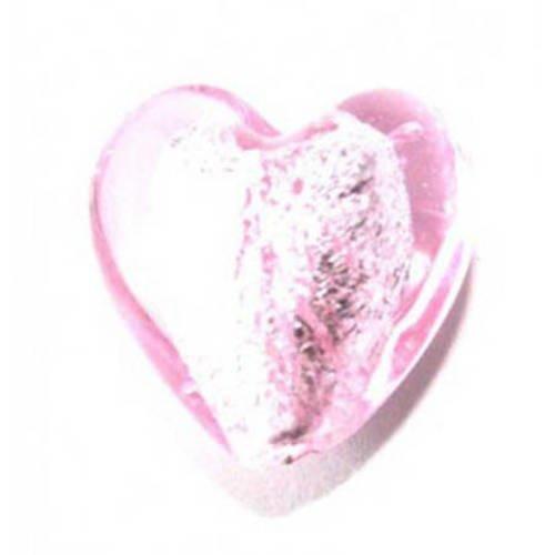 perle cœur  feuille d'argent  15mm rose x 2