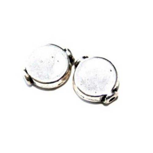 Perle ronde plate métal 10mm argenté x 4