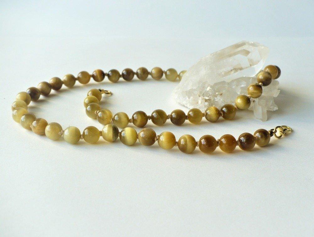 Collier œil de tigre naturel blond, 52 cm environ, perles 8 mm, noué à la main. Doré pierre fine semi-précieuse quartz véritable