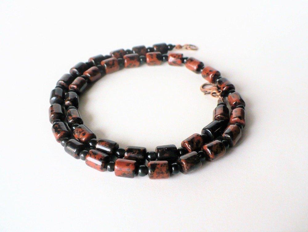 Collier ras du cou (40 cm ou 44 cm) en obsidienne naturelle acajou (7*6 mm) et noire (3-4 mm) - homme ou femme – pierre semi-précieuse