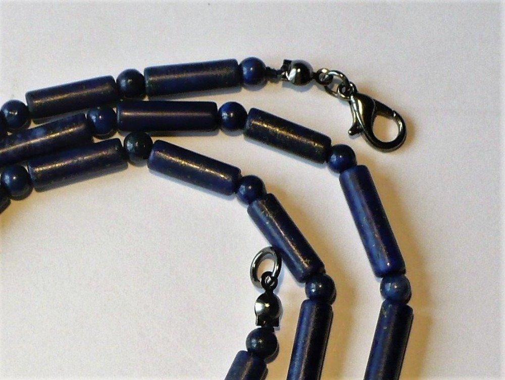 Collier sautoir (60 cm) en lapis Lapis Lazuli véritable, pierres rondes / tubes - pierre fine semi-précieuse naturelle. Homme ou femme