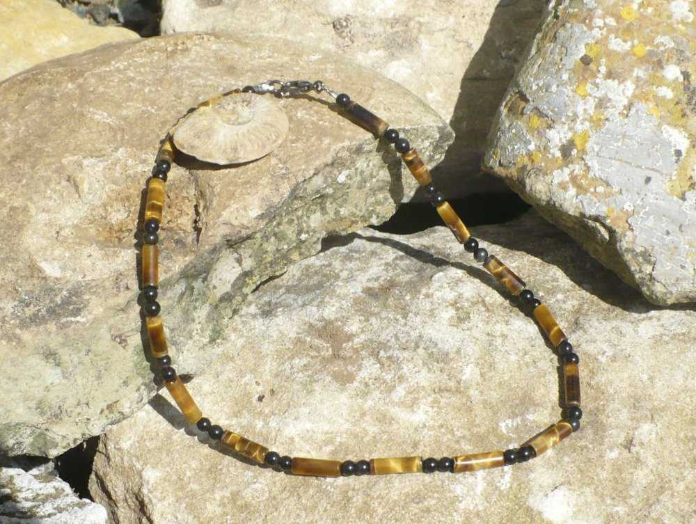 Collier ras du cou (40 cm) en oeil de tigre / obsidienne noire véritable perles 4 mm – homme ou femme pierre fine semi-précieuse gemme