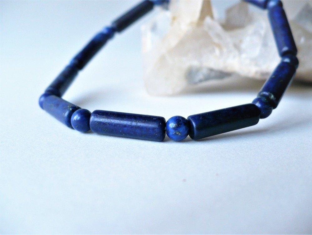 Bracelet élastique en lapis Lapis Lazuli véritable, pierres rondes / tubes - pierre fine semi-précieuse naturelle. Homme ou femme