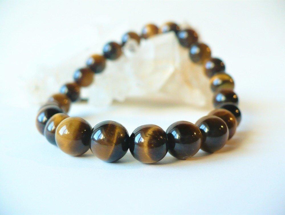 Bracelet oeil de tigre élastique, perles 8 mm. Doré pierre fine semi-précieuse quartz véritable