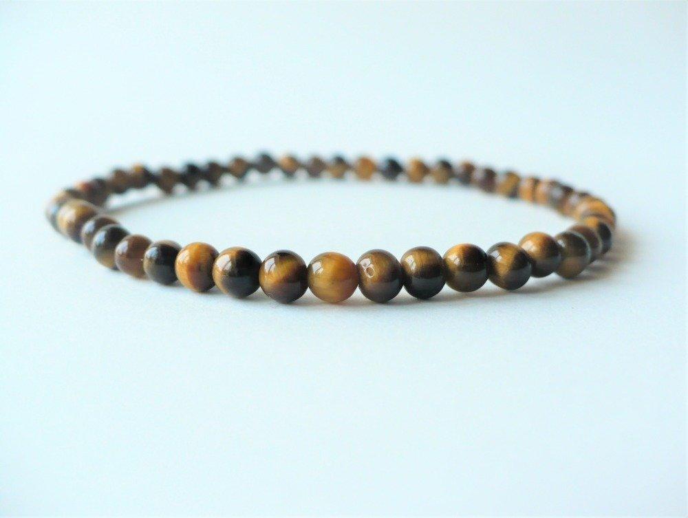 Bracelet oeil de tigre élastique, perles 4 mm. Pierre fine semi-précieuse quartz véritable