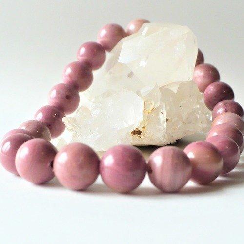 Bracelet Aum <br>Pierre de Rhodonite Rose