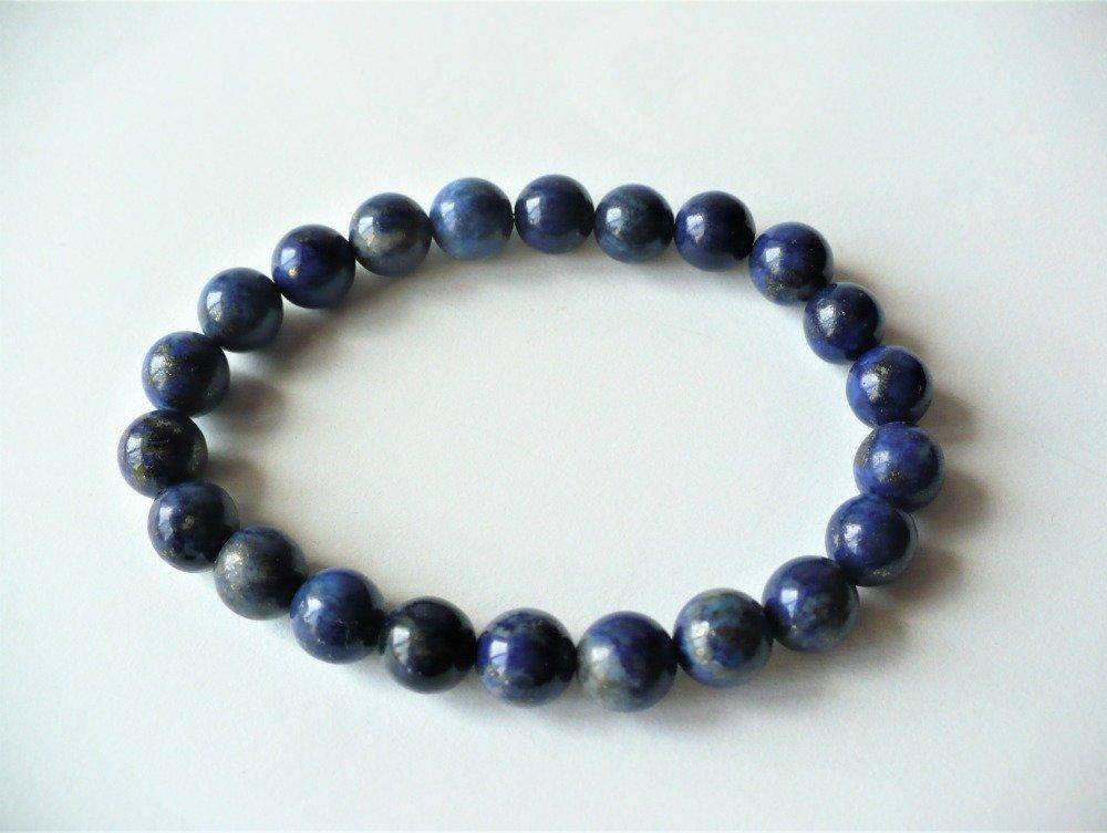 Bracelet élastique Lapis lazuli véritable, pierres rondes 8 mm - pierre fine semi-précieuse naturelle. Homme ou femme