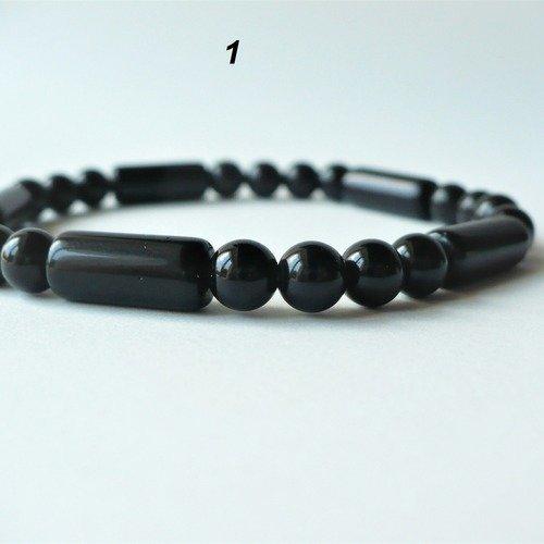 Bracelet élastique obsidienne noire véritable (perles rondes et tubes 6 mm) - homme femme - pierre semi-précieuse naturelle
