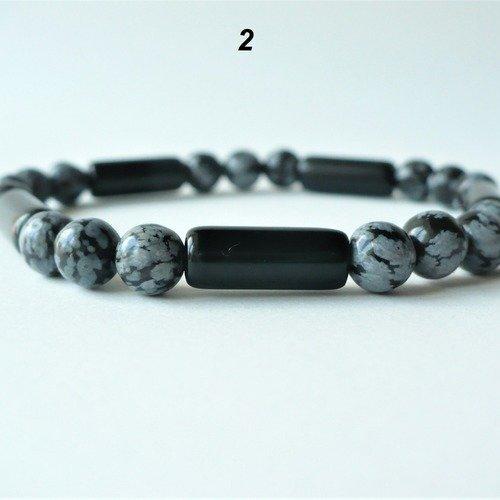 Bracelet élastique obsidienne véritable (perles rondes neige et tubes noires 6 mm) - homme femme - pierre semi-précieuse naturelle