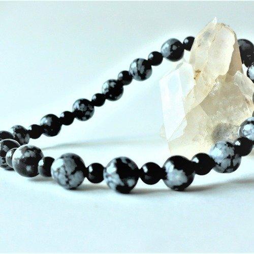 Bracelet élastique obsidienne noire et flocon de neige véritable (perles rondes 6 et 4 mm) - homme femme - pierre semi-précieuse