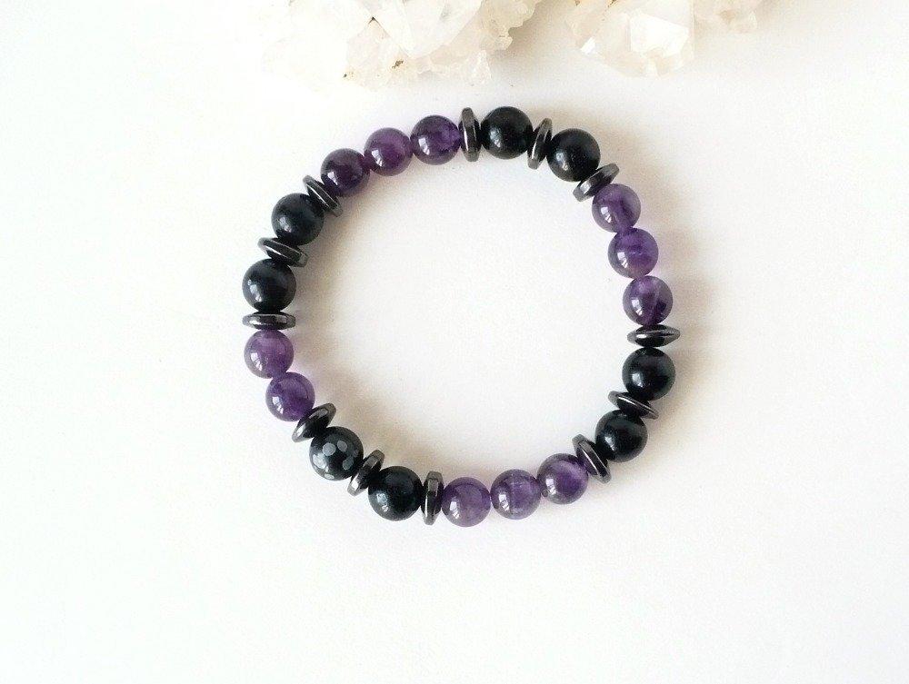 Bracelet en améthyste / Obsidienne / Hematite. Perles 8 mm - homme ou femme. Pierre semi-précieuse véritable