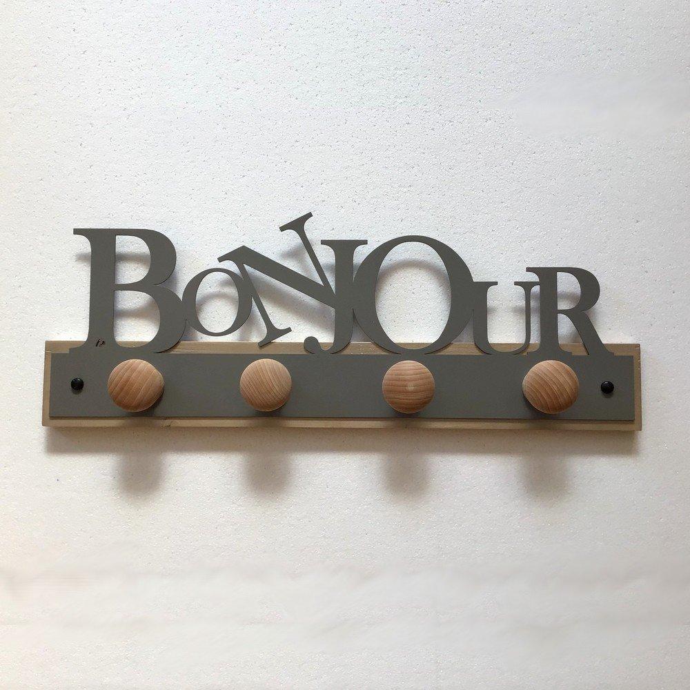 Porte manteau - Bonjour 4 patères Gris