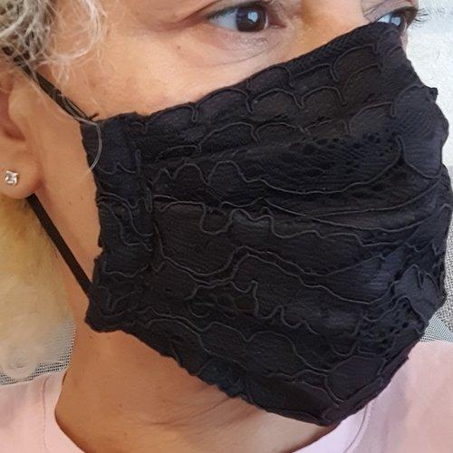 Masque tissu dentelle mariée noir
