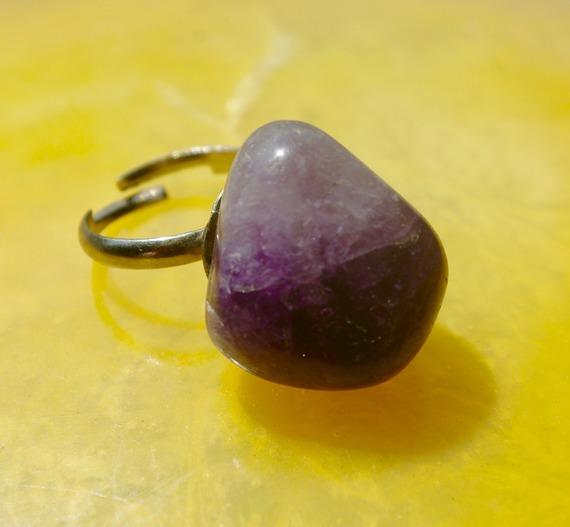 Bague en pierre naturelle violette, anneau réglable