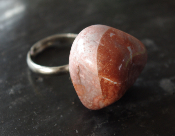 Bague en pierre naturelle d'Oman, anneau réglable