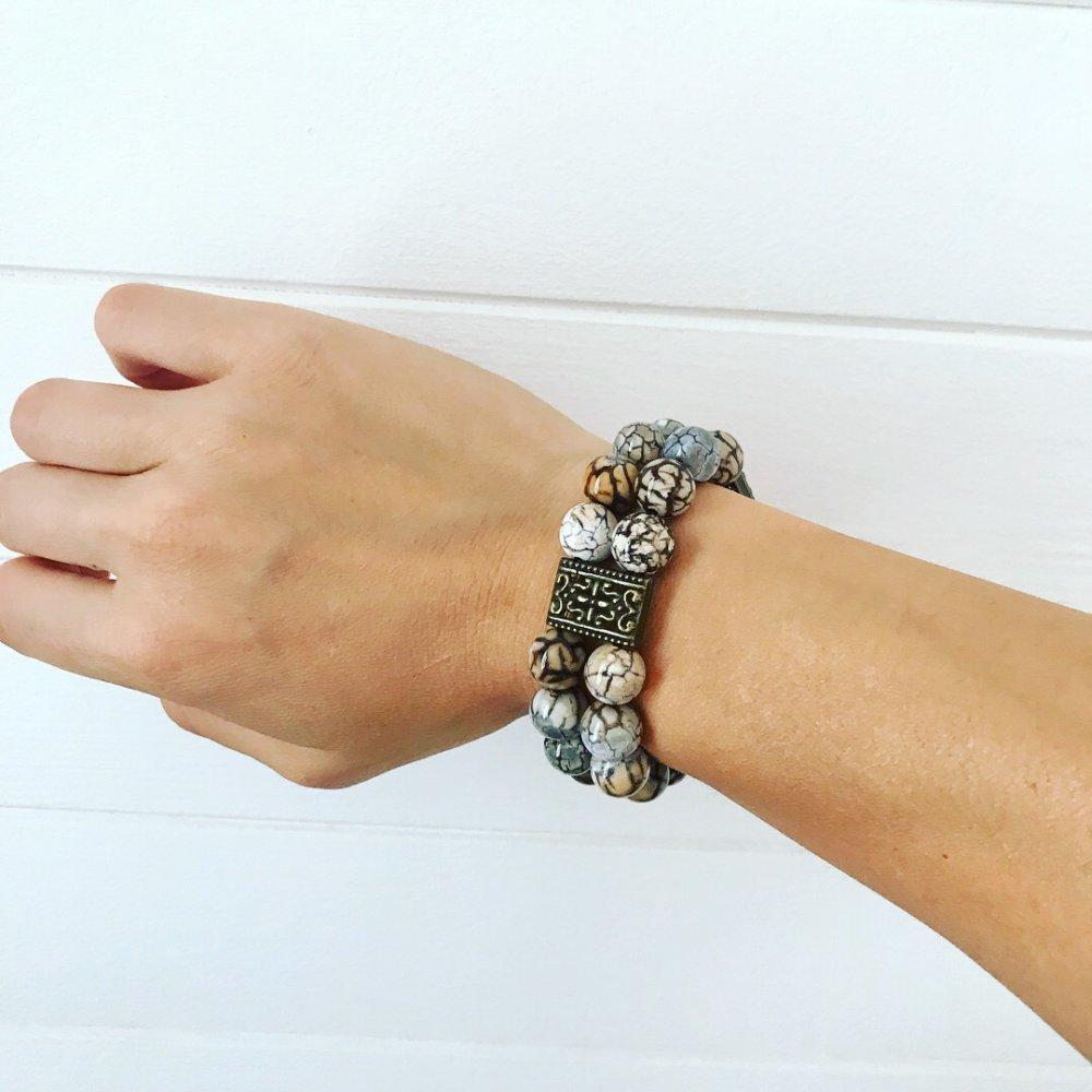 Bracelet « GAMA » en agate veine de dragon