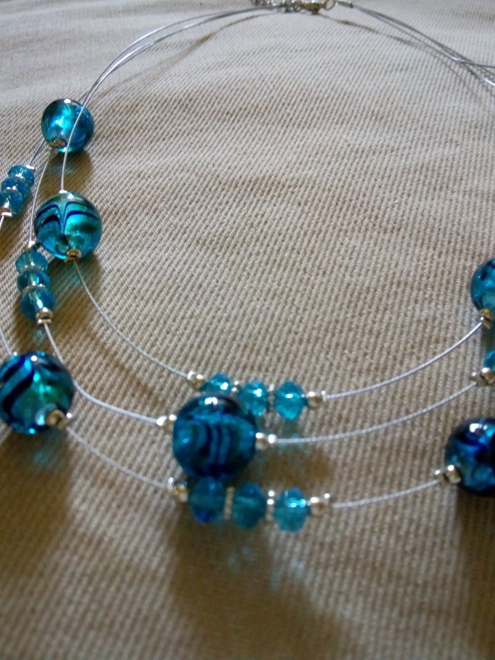 """COLLIER """"Triple rangs bleu"""" (vendu)"""