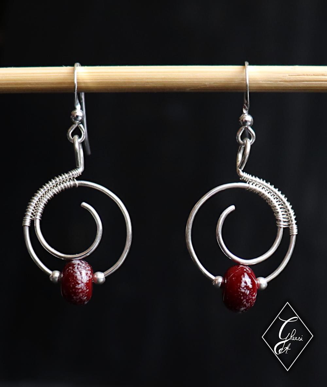 Paire de boucles d'oreilles, argent 925 et perle en verre de Murano