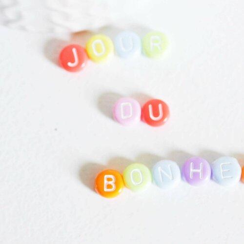 Perle ronde lettre alphabet plastique multicolore pastel,perle plastique,perle lettre,création bracelet mots, les 10 grammes-g1822