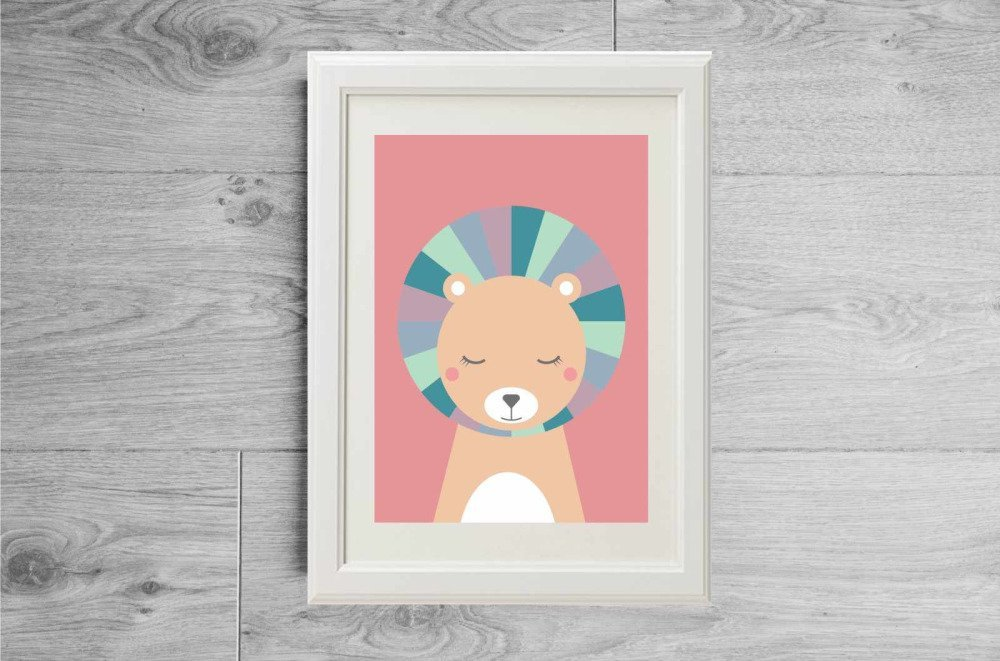 Lot affiches pour nurserie, Cadeau de naissance rose, Set affiches animaux ours renard et lion, Chambre enfant rose