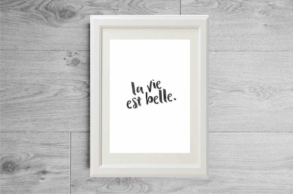 Affiche la vie est belle, Affiche citation noir et blanc moderne, Poster la vie est belle minimaliste, Citation inspirante