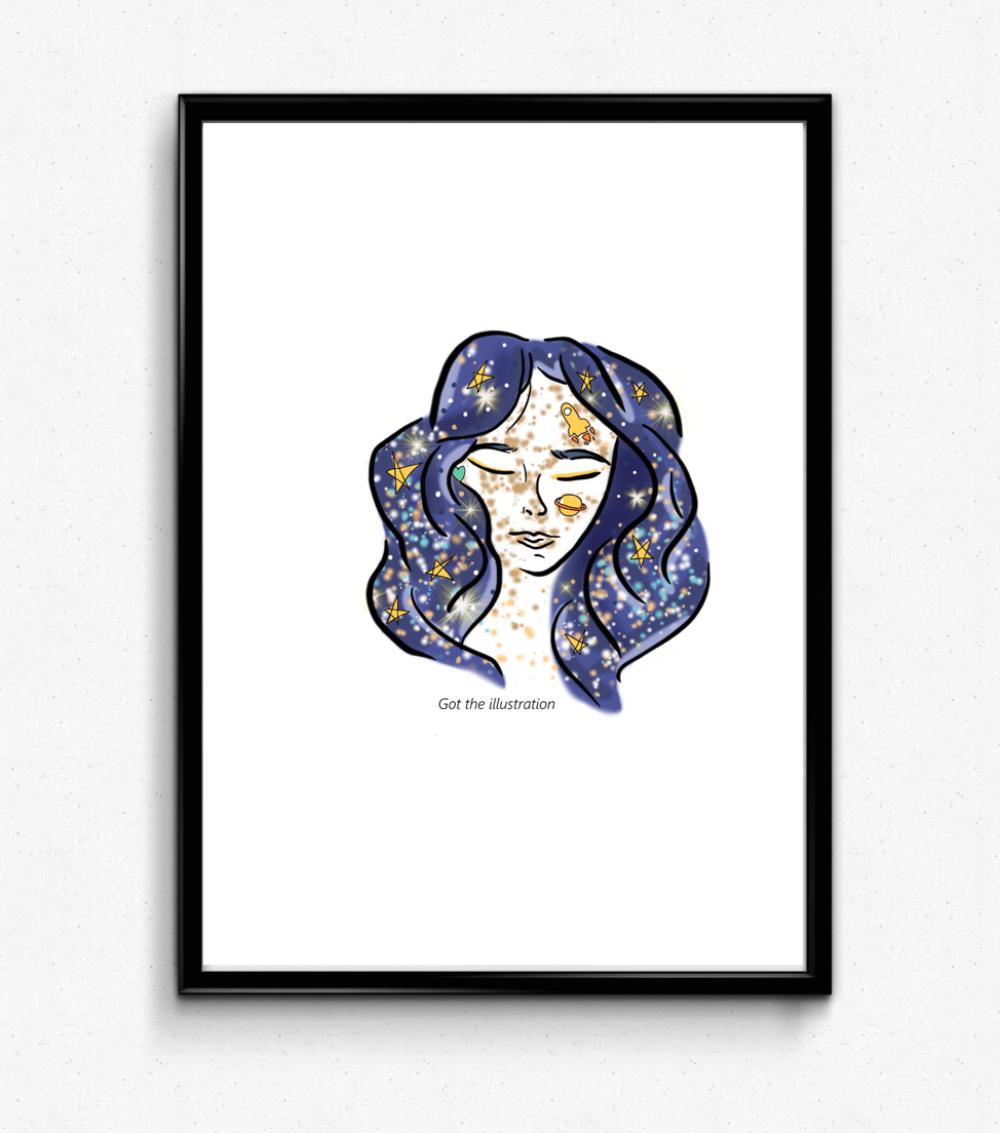 Illustration pour enfant fille lunaire