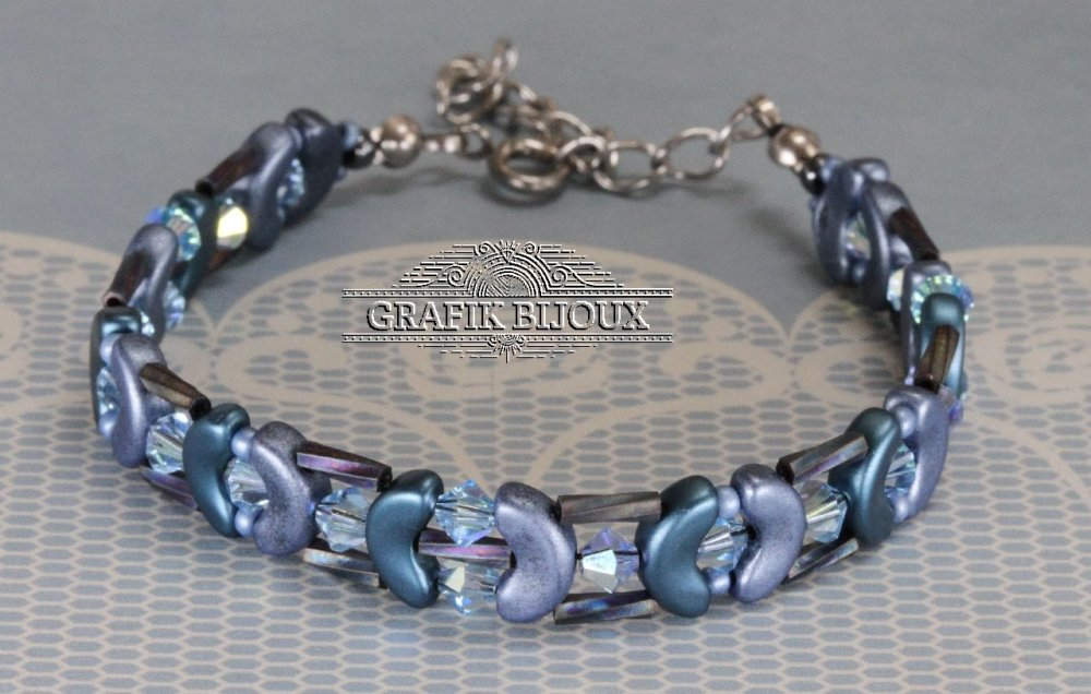 Bracelet avec perles Arcos, cristal swarovski, tubes et rocailles miyuki et acier inoxydable