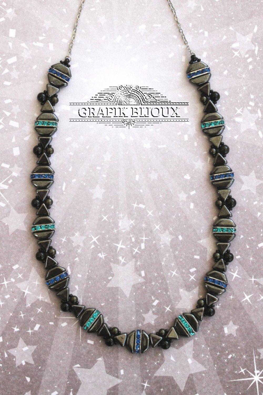 Collier court avec perles Tinos, Khéops, strass, rocailles miyuki et acier inoxydable