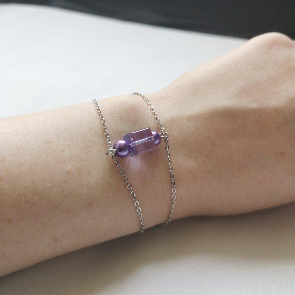 Bracelet acier et perles violettes