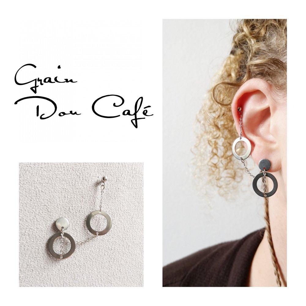 Boucle d'oreille en acier inoxydable pour lobe et cartilage (Hélix) chaîne et double anneaux creux