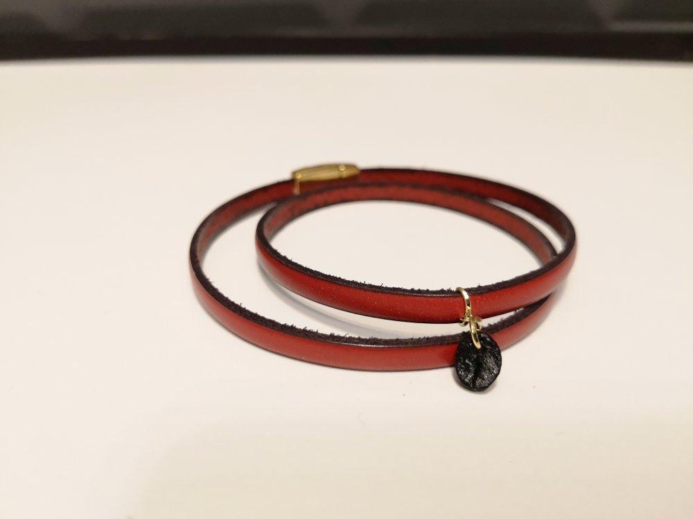 Bracelet cuir et grain de café - Rouge/doré