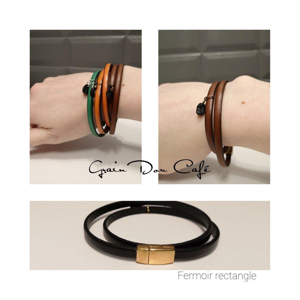 Bracelet cuir et grain de café - Noir/doré