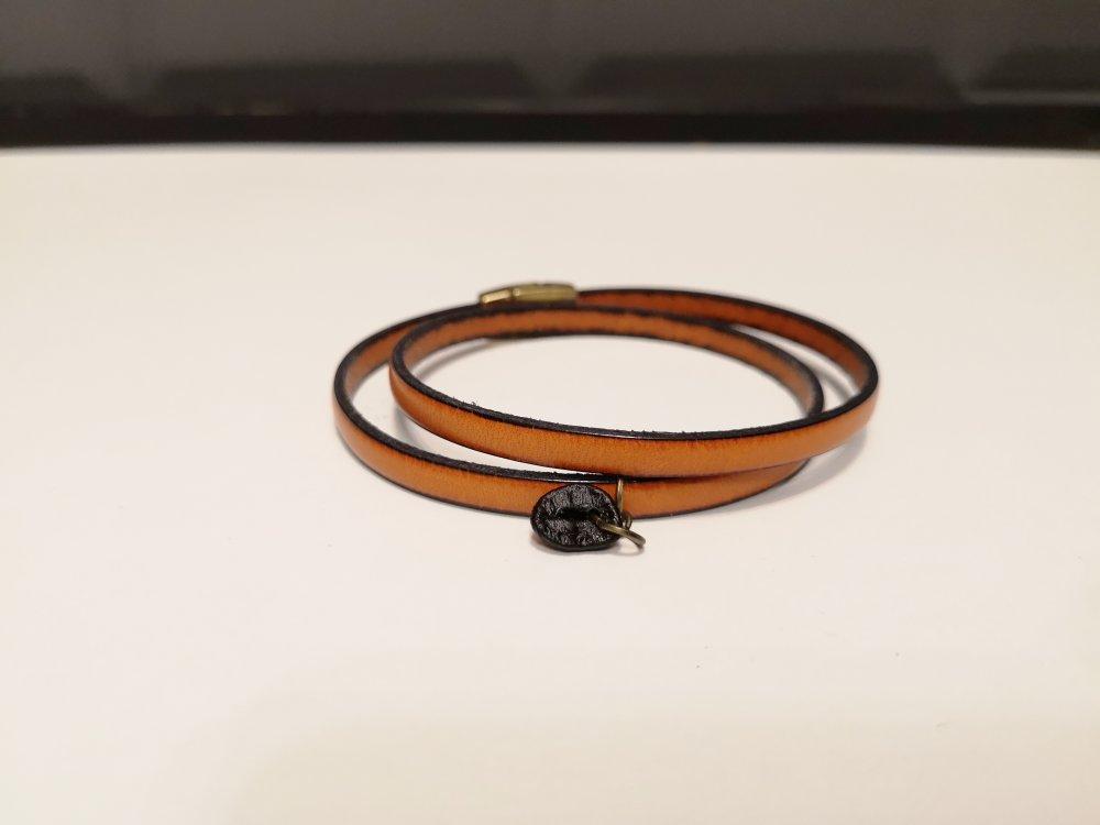 Bracelet cuir et grain de café - Orange/bronze