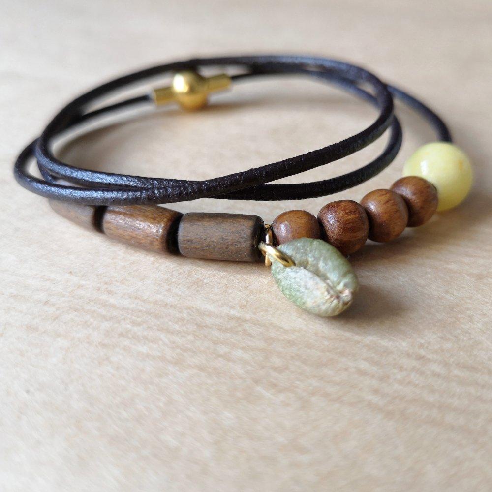 Bracelet cuir marron perles en bois et jade Mashan jaune avec gros grain de café