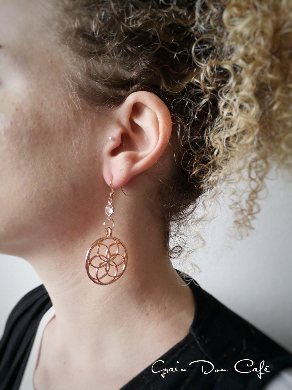 Boucles d'oreilles fleur de vie et cristal Swarovski métal or rose