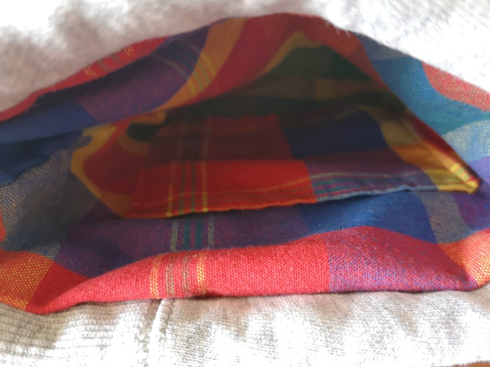Pochon coton gris et doublure tissu madras avec grain de café cuir