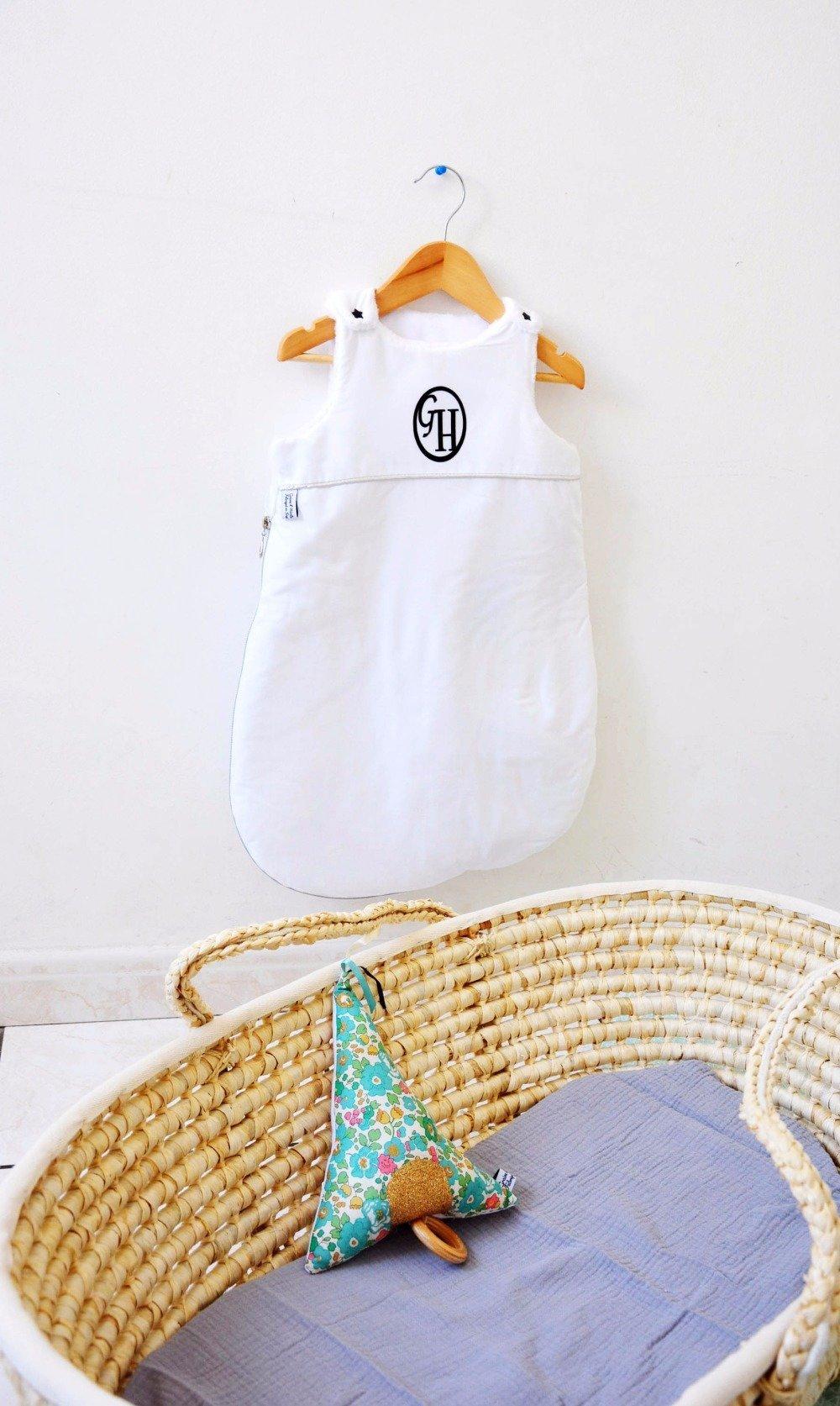 gigoteuse naissance personnalisé- turbulette brodé 0/6 mois été-hiver, cadeau naissance, nouveau né