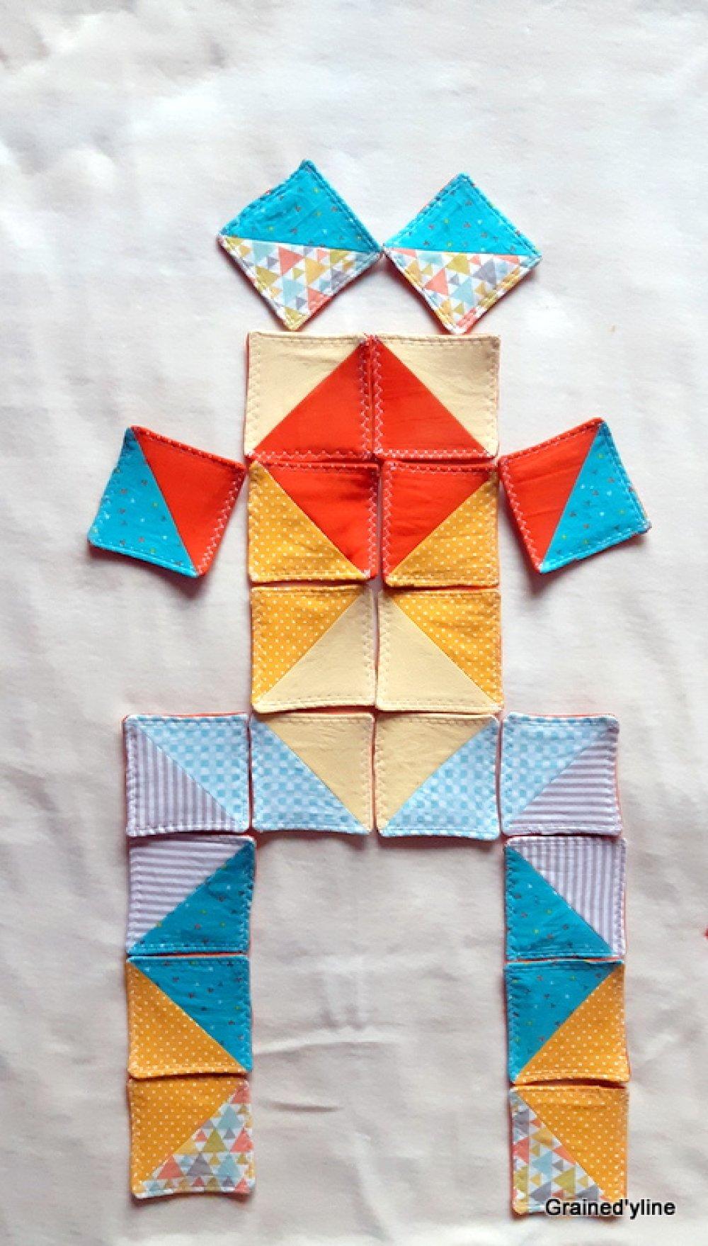 Puzzle tissu, Jouet Tangram, modèle unique, fait main