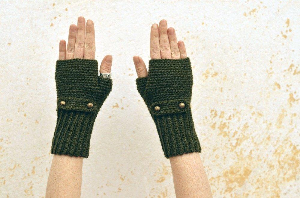 Mitaines tricotées en vert bouteille, moufles en laine, gants d'hiver élégants