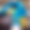 Mitaines bleues sarcelle au crochet avec fleur, moufles tricotés en laine, gants de noces