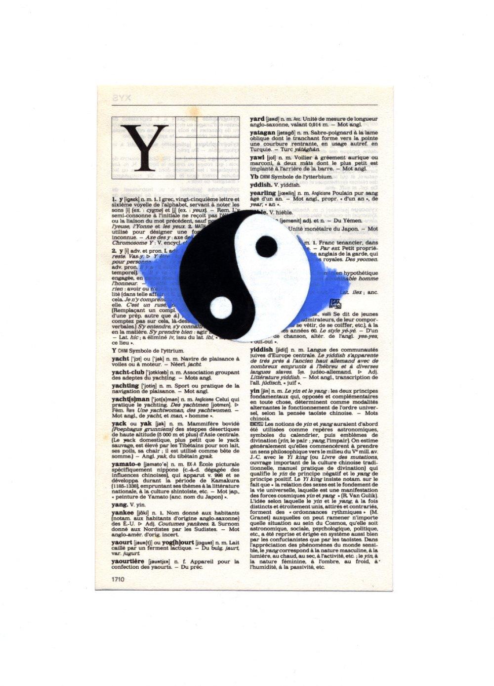 illustration Yin Yang sur ancienne page de dictionnaire