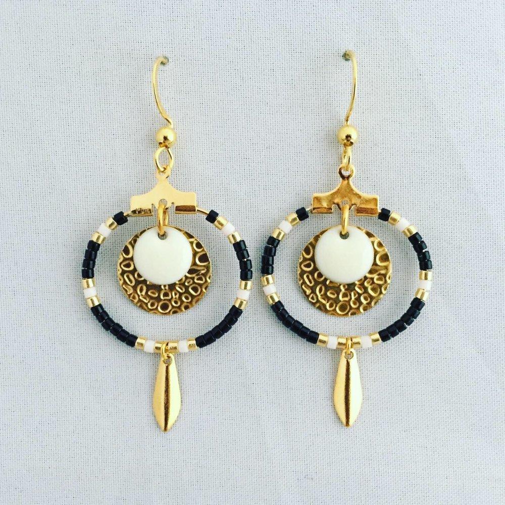 Boucles d'oreilles en perles Miyuki, noir et doré
