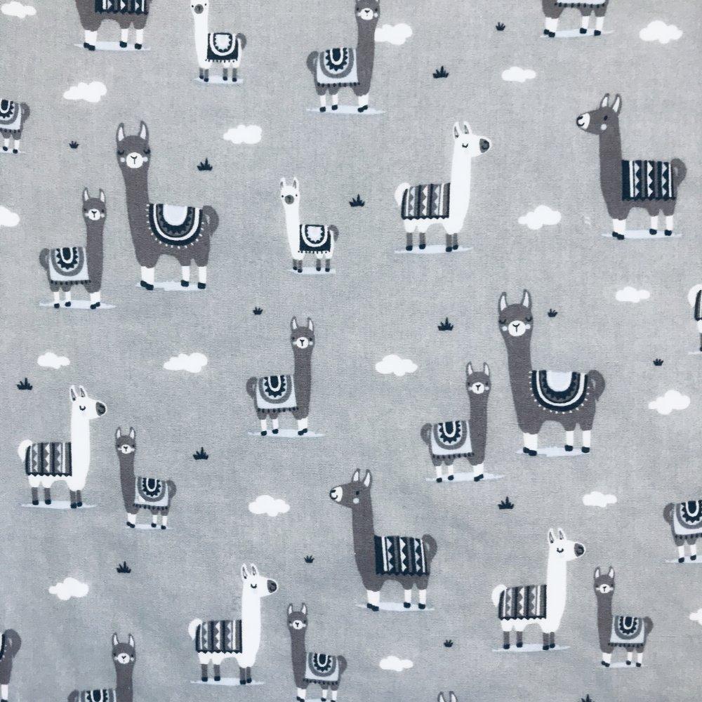Serviette de cantine lamas sur fond gris