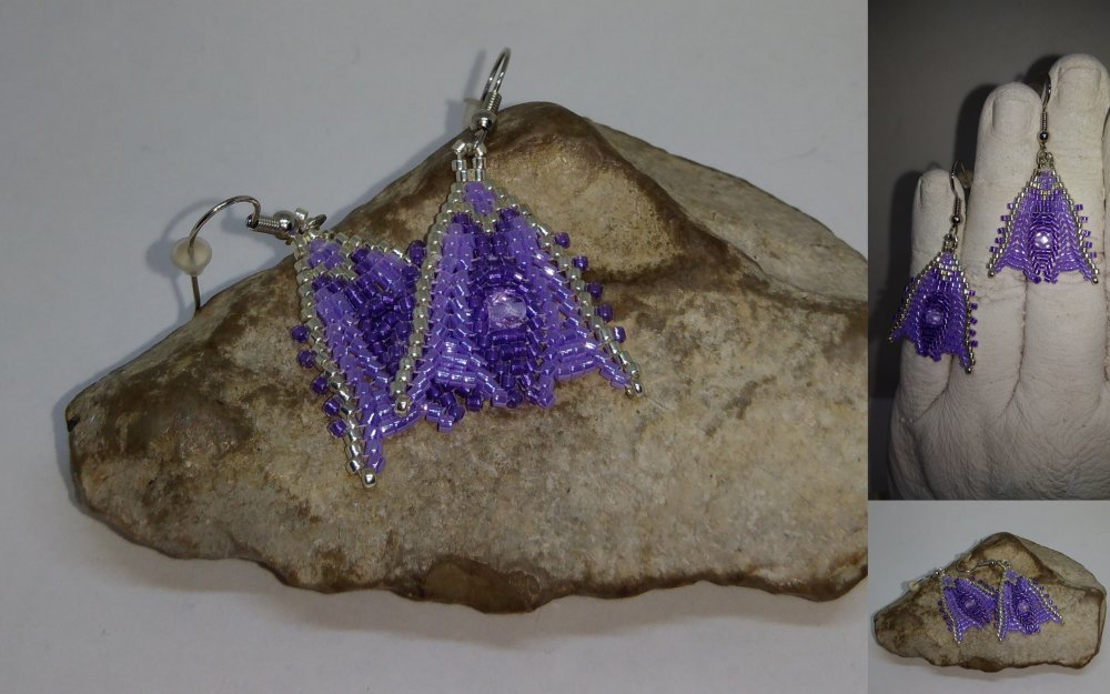 Boucles d'oreilles tissées à l'aiguille violet  et argent