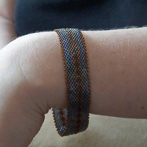 Bracelet bangle bleu et bronze taille m
