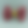 Barrette double gaze de coton vieux rose interieur doré